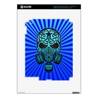 Post Apocalyptic Sugar Skull, blue Decal For iPad 3