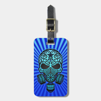 Post Apocalyptic Sugar Skull, blue Luggage Tag