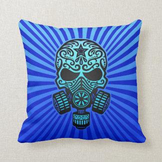 Post Apocalyptic Sugar Skull, blue Pillow