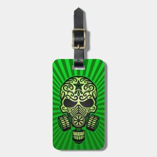 Post Apocalyptic Sugar Skull, green Luggage Tag