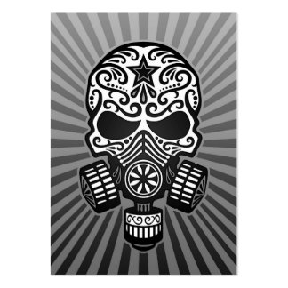 Post Apocalyptic Sugar Skull, grey Business Card Templates