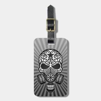 Post Apocalyptic Sugar Skull, grey Luggage Tag