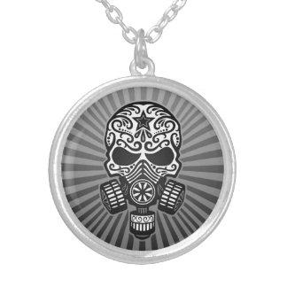 Post Apocalyptic Sugar Skull, grey Personalized Necklace