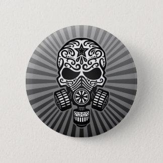 Post Apocalyptic Sugar Skull, grey Pinback Button