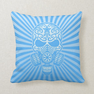 Post Apocalyptic Sugar Skull, light blue Throw Pillows