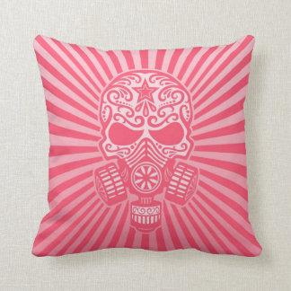 Post Apocalyptic Sugar Skull, pink Pillow