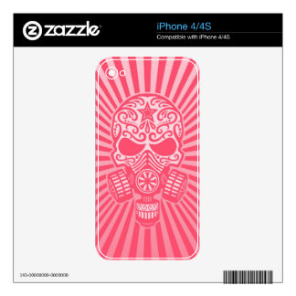 Post Apocalyptic Sugar Skull, pink Decal For iPhone 4S