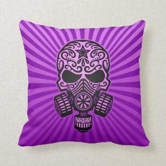 Post Apocalyptic Sugar Skull, purple Pillow