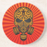 Post Apocalyptic Sugar Skull, red and yellow Coaster