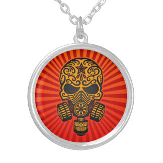 Post Apocalyptic Sugar Skull, red and yellow Pendant