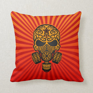 Post Apocalyptic Sugar Skull, red and yellow Pillow