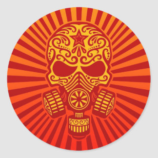 Post Apocalyptic Sugar Skull, red Classic Round Sticker