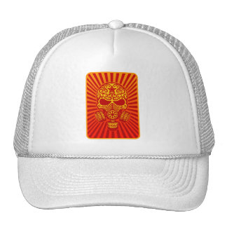 Post Apocalyptic Sugar Skull, red Trucker Hat