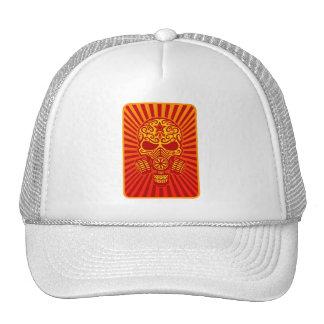 Post Apocalyptic Sugar Skull, red Trucker Hat