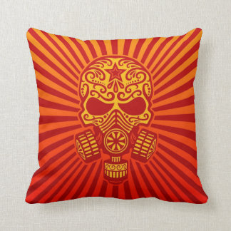 Post Apocalyptic Sugar Skull, red Throw Pillows