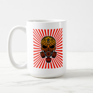Post Apocalyptic Sugar Skull, red rays Coffee Mugs