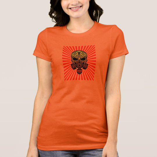 Post Apocalyptic Sugar Skull, red rays T-Shirt