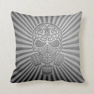 Post Apocalyptic Sugar Skull, steel effect Pillows