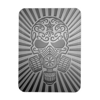 Post Apocalyptic Sugar Skull, steel effect Rectangular Magnets