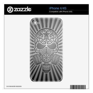 Post Apocalyptic Sugar Skull, steel effect iPhone 4S Skin