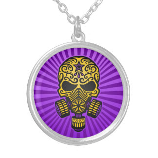 Post Apocalyptic Sugar Skull, yellow and purple Necklaces