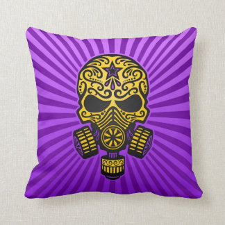 Post Apocalyptic Sugar Skull, yellow and purple Pillow