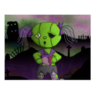 Post Apocolyptic Zombie Dollie Heart Valentine Postcard
