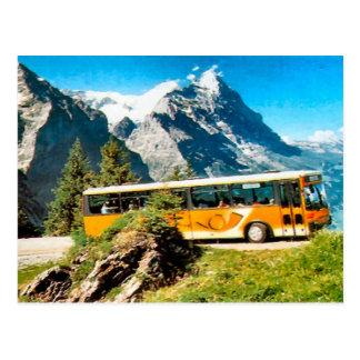 Post bus on the mountain postcard