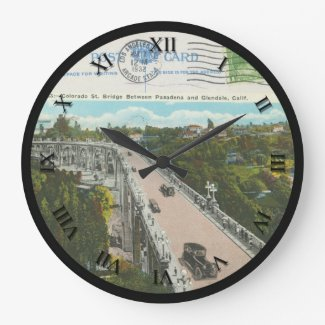 Post Card Clock - Colorado St Bridge 1932