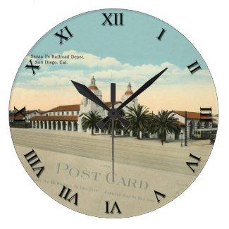 Post Card Clock - Sante Fe Depot, San Diego CA