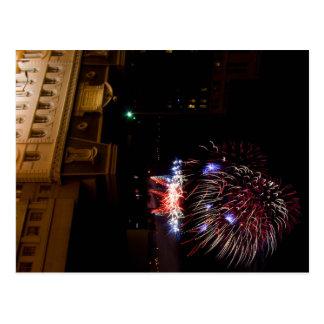Post Card Dayton Fireworks Red White Blue