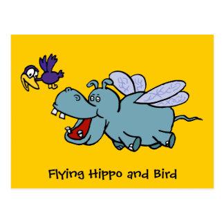 Post Card: Flying Hippo & Bird