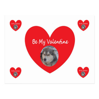 Post Card Husky Red Heart Be My Valentine