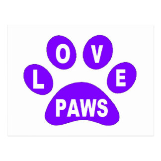 Post Card Love Paws on Paws Purple
