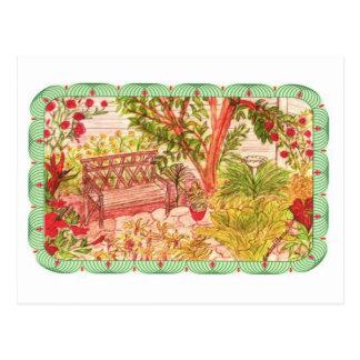 Post Card-Peaceful Garden Settings Postcard