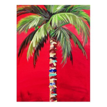 Post Card- Red South Beach Palm Tree Postcard