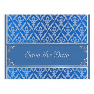 Post Card--Save the Date Fleur Light Blue Postcard