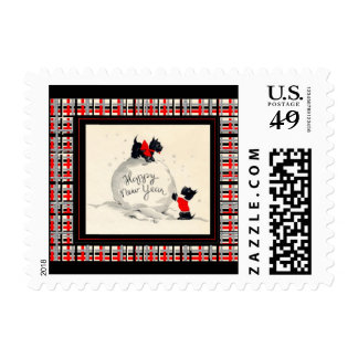 Post card stamp Scottie dogs happy new year