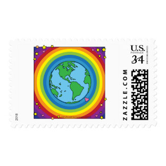 Post Card Stamps - Love & Peace World