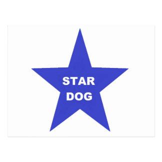 Post Card Star Dog on Blue Star