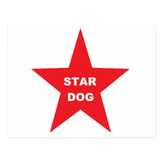 Post Card Star Dog on Red Star