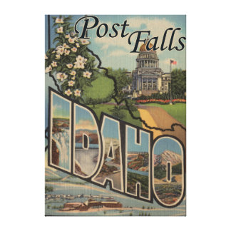 Post Falls, Idaho - Large Letter Scenes Stretched Canvas Print