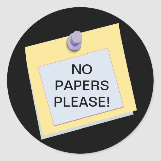 Post-it No Papers Please Sticker