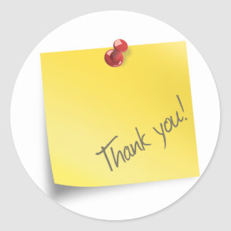 Post it Thank You Classic Round Sticker