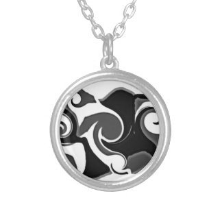 Post Modern Construction in Black, White & Grey Round Pendant Necklace