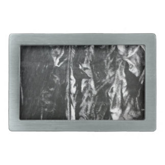 Post modern distressed plastic effect in grey rectangular belt buckle