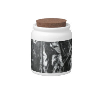 Post modern distressed plastic effect in grey candy jars