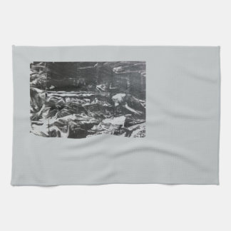 Post modern distressed plastic effect in grey hand towel