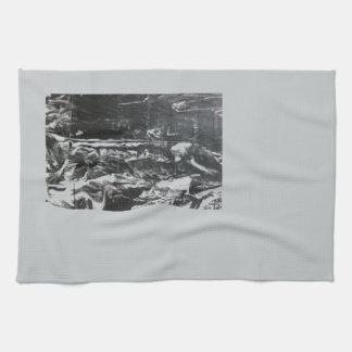 Post modern distressed plastic effect in grey towel