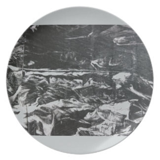 Post modern distressed plastic effect in grey dinner plate
